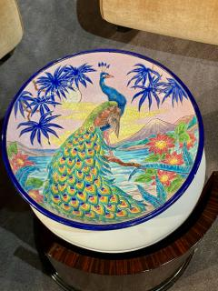 R Rizzi Longwy Ceramic Cloisonne Charger Artist Signed French Art Deco - 1748950