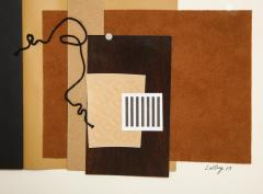 R Scott Lalley R Scott Lalley Unfinished Novel 2014 Paper Collage on Paper with String - 1162143