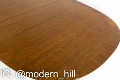 R Way Mid Century Walnut Inlaid Rounded Oval 10 Person Dining Table - 1869607