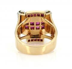 RETRO 1940S PINK GOLD DIAMOND AND RUBY GEOMETRIC RING - 1106024