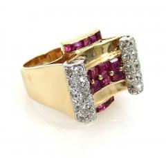 RETRO 1940S PINK GOLD DIAMOND AND RUBY GEOMETRIC RING - 1106026