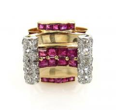 RETRO 1940S PINK GOLD DIAMOND AND RUBY GEOMETRIC RING - 1106027