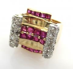 RETRO 1940S PINK GOLD DIAMOND AND RUBY GEOMETRIC RING - 1106028