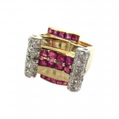 RETRO 1940S PINK GOLD DIAMOND AND RUBY GEOMETRIC RING - 1107199