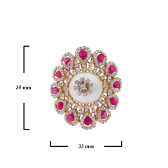 RUBY AND PEARL BLOOMING FLOWER RING WITH DIAMONDS - 1933859