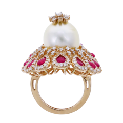 RUBY AND PEARL BLOOMING FLOWER RING WITH DIAMONDS - 1933860