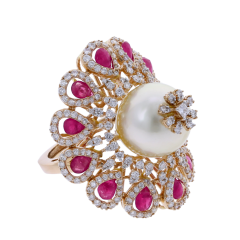 RUBY AND PEARL BLOOMING FLOWER RING WITH DIAMONDS - 1933862