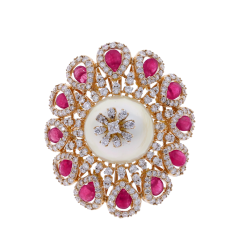 RUBY AND PEARL BLOOMING FLOWER RING WITH DIAMONDS - 1933863