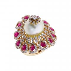 RUBY AND PEARL BLOOMING FLOWER RING WITH DIAMONDS - 1935035