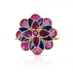 RUBY AND SAPPHIRE FLORAL RING 18K YELLOW GOLD - 2133776
