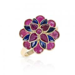 RUBY AND SAPPHIRE FLORAL RING 18K YELLOW GOLD - 2133777