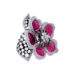 RUBY PETALS AND DIAMOND FLORAL RING - 1933873