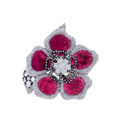 RUBY PETALS AND DIAMOND FLORAL RING - 1933875