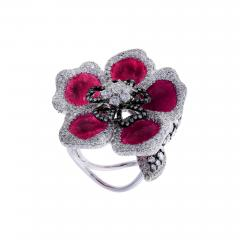 RUBY PETALS AND DIAMOND FLORAL RING - 1935036