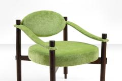 Raffaella Crespi Pair of Armchairs by Raffaella Crespi in Green Textured Velvet Italy 1960s - 980494