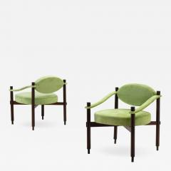 Raffaella Crespi Pair of Armchairs by Raffaella Crespi in Green Textured Velvet Italy 1960s - 990949