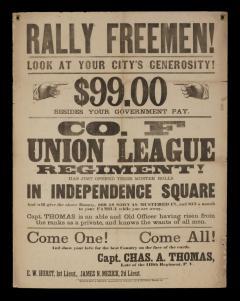 Rally Freemen Civil War Recruitment Broadside - 851558