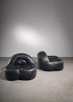 Raphael Raffel Black leather lounge chairs France - 2019455