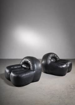 Raphael Raffel Black leather lounge chairs France - 2019456