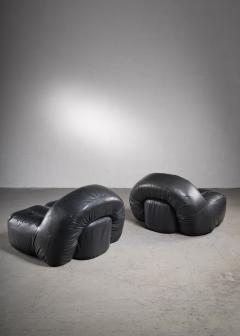 Raphael Raffel Black leather lounge chairs France - 2019457
