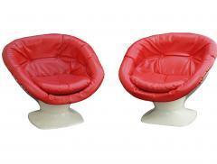 Raphael Raffel Mid Century Modern Red Space Age Club Pair of Chairs Raphael Raffel France - 2003562