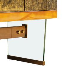Raphael Raffel Raphael Important Lacquered Credenza With Textured Bronze Doors 1960s - 2137212