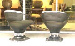 Raphael Raffel Raphael Raffel Pod Bronze Acrylic Pair of Chairs with Light Gray Leather Seats - 1421335