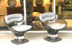 Raphael Raffel Raphael Raffel Pod Bronze Acrylic Pair of Chairs with Light Gray Leather Seats - 1421337