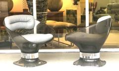 Raphael Raffel Raphael Raffel Pod Bronze Acrylic Pair of Chairs with Light Gray Leather Seats - 1421338