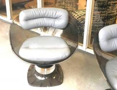 Raphael Raffel Raphael Raffel Pod Bronze Acrylic Pair of Chairs with Light Gray Leather Seats - 1421339