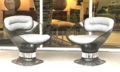 Raphael Raffel Raphael Raffel Pod Bronze Acrylic Pair of Chairs with Light Gray Leather Seats - 1421341