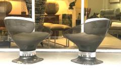 Raphael Raffel Raphael Raffel Pod Bronze Acrylic Pair of Chairs with Light Gray Leather Seats - 1421343