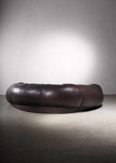 Raphael Raffel Very large leather Croissant sofa by Raphael Raffel 1970s - 2066546