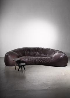 Raphael Raffel Very large leather Croissant sofa by Raphael Raffel 1970s - 2066550