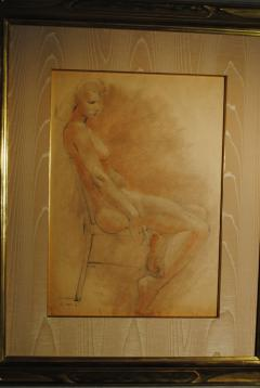 Raphael Soyer Drawing and Gouache of Large Nude signed - 929186
