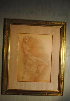 Raphael Soyer Drawing and Gouache of Large Nude signed - 929187