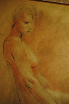 Raphael Soyer Drawing and Gouache of Large Nude signed - 929189