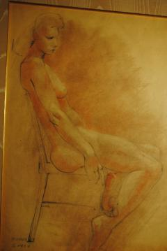 Raphael Soyer Drawing and Gouache of Large Nude signed - 929192