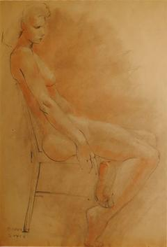 Raphael Soyer Drawing and Gouache of Large Nude signed - 929214
