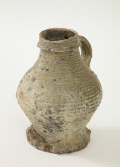 Rare 17th C German Low Countries Grey Ceramic Pitcher - 1289546