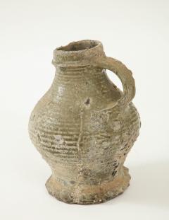 Rare 17th C German Low Countries Grey Ceramic Pitcher - 1289553