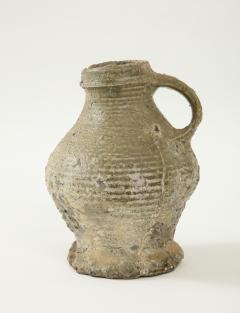 Rare 17th C German Low Countries Grey Ceramic Pitcher - 1289554