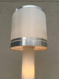 Rare 1960s Italian White Glass Chrome Lighted Column Base Floor Lamp - 114821