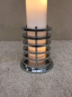 Rare 1960s Italian White Glass Chrome Lighted Column Base Floor Lamp - 114822