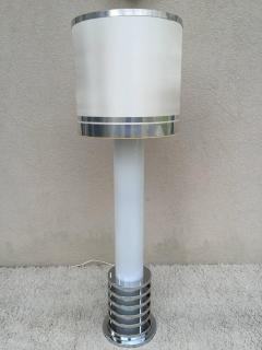 Rare 1960s Italian White Glass Chrome Lighted Column Base Floor Lamp - 114823