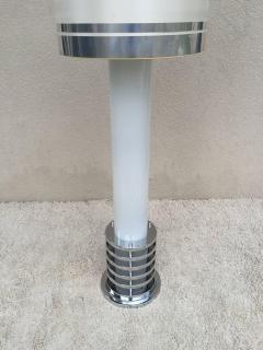 Rare 1960s Italian White Glass Chrome Lighted Column Base Floor Lamp - 114824