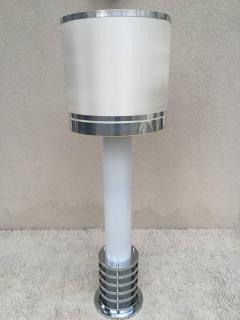 Rare 1960s Italian White Glass Chrome Lighted Column Base Floor Lamp - 114825