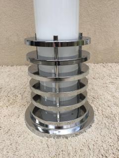 Rare 1960s Italian White Glass Chrome Lighted Column Base Floor Lamp - 114826