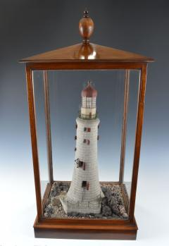 Rare Antique Mahogany cased Cork Model of a Lighthouse - 802214