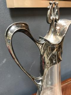 Rare Art Deco Silver Plate and Crystal Set 2 Pitcher Italy 1930s - 1477016